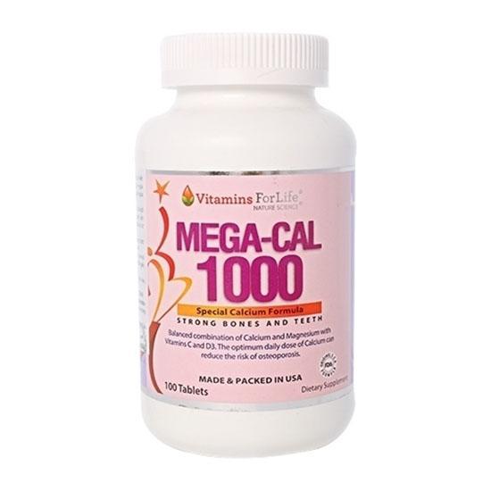 Mega Cal 1000 - Viên uống bổ sung Canxi, lọ 100 viên